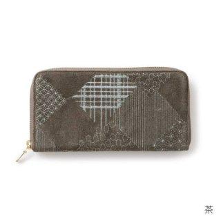 【遊中川】 長財布 綾 茶 ラウンドファスナー財布 束入れ