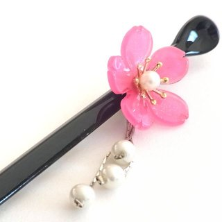 桜かんざし 真珠飾り 一本差し ピンク