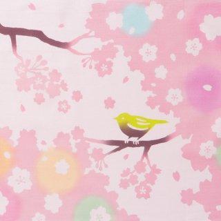 注染手拭い 桜に鶯