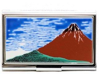 【九谷焼】名刺入れ 赤富士  KUTANI CARD-CASE
