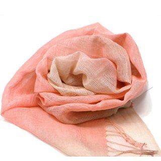 桜染め 綿麻かすみ織スカーフ  ピンク×グレー