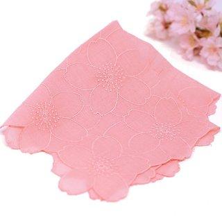 桜染め 綿レースハンカチ 桜ピンク