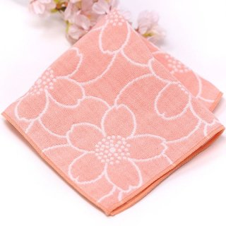 桜染め 3重ガーゼハンカチ 桜ピンク