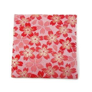 【金襴のハンドメイド和小物】  金襴 和柄 コースター 赤 桜柄