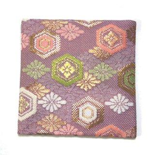 【金襴のハンドメイド和小物】  金襴 和柄 コースター 薄ピンク 花亀甲紋