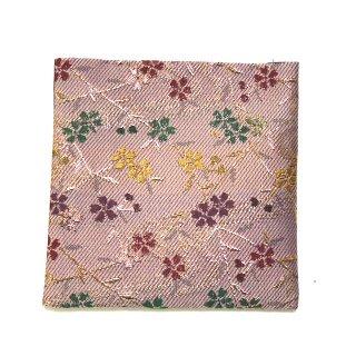 【金襴のハンドメイド和小物】  金襴 和柄 コースター 桜小花 薄ピンク