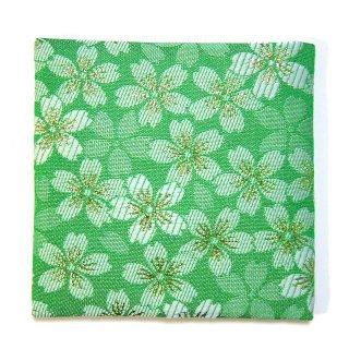 【金襴のハンドメイド和小物】  金襴 和柄 コースター 緑 桜柄