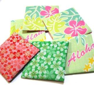 【金襴のハンドメイド和小物】  金襴 和柄 コースター 桜柄  緑 赤 裏ハワイ柄