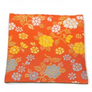 【金襴のハンドメイド和小物】  金襴 和柄 コースター オレンジ花柄