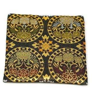 【金襴のハンドメイド和小物】  金襴 和柄 コースター 黒丸鳳凰紋