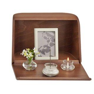 【日本香堂】 祈りの手箱 ミニ仏壇 仏具セット ブラウン
