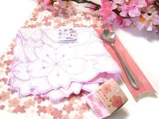 【花楽堂オリジナル】 練り香水「桜」と桜ハンカチ 桜スプーンギフトセット