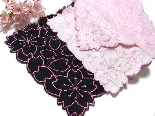 【桜のハンカチ】竹たおる さくら総刺繍ハンカチ