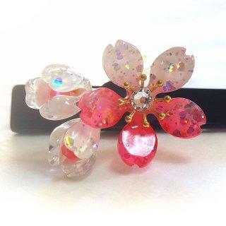 桜かんざし 真珠飾り 一本差し つぼみ桜 ピンク