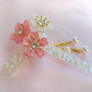 桜かんざし 真珠飾り 一本差し ねじり桜 ピンク/白軸