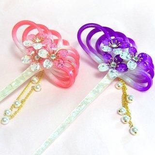 桜かんざし 真珠飾り 一本差し 水引蝶結び さくら桜満開 白軸
