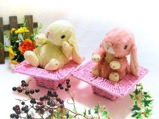 【うさぎのぬいぐるみ】【ゆったりお月見♪】 ロップイヤー ピンクの三宝かご入りセット