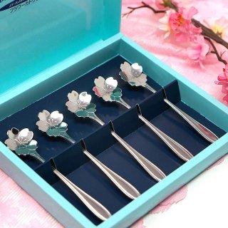 【ギフトに最適】【日本製フラワーカトラリー】桜のスプーン 5本ギフトセット