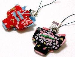 【和風ストラップ】着物すとらっぷ  さくら柄 縮緬(ちりめん)桜 日本製 鈴つき