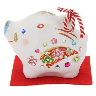 キラキラ干支置物 土鈴 松竹梅 亥 ラインストーン ジュエリー飾り 【亥年の縁起干支飾り】 デコレーション陶器置物