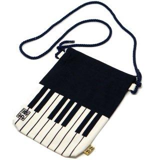 【手捺染本染め手拭い】ピアノ柄ポーチ(撥水加工済み)ポシェットタイプ
