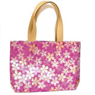 【メール便送料無料!】【金襴のバッグ】【花楽堂オリジナル】金襴 和柄 花柄トートバッグ 1 桜 紅ピンク