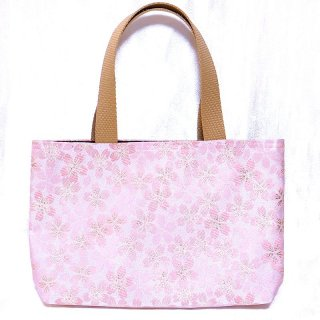 【メール便送料無料!】【金襴のバッグ】【花楽堂オリジナル】金襴 和柄 花柄トートバッグ 5 桜ピンク