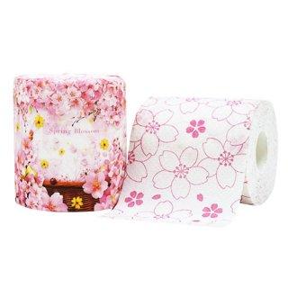 桜柄トイレットロール さくらのトイレットペーパー 春のペーパーギフト(花柄手提げ袋つき)
