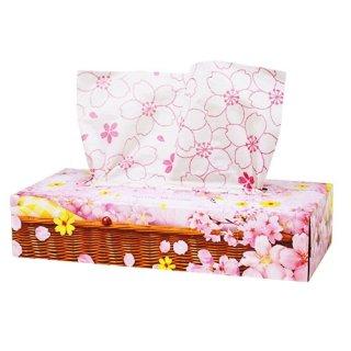 桜柄ボックスティッシュ さくらのティッシュペーパー 春のペーパーギフト(花柄手提げ袋つき)