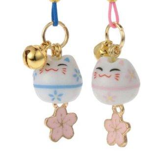 桜ストラップ 円満桜猫(えんまんさくらねこ)ペア根付け