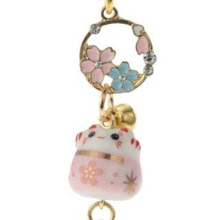 桜ストラップ 桜花漫遊(おうかまんゆう)  陶器桜にゃんこリース根付け