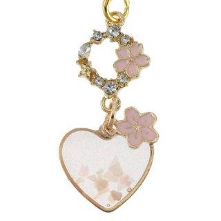 桜ストラップ 桜浪漫(さくらろまん)クリア桜ハートストラップ 根付け