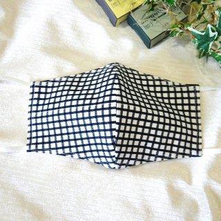 【花楽堂オリジナル】マスク 布マスク 呉服屋の上質晒マスク 黒格子 手作り 日本製
