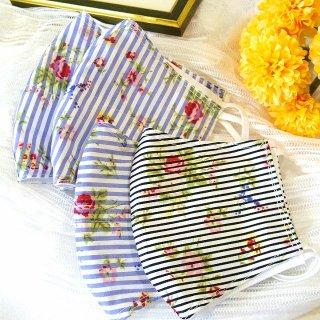 【花楽堂オリジナル】マスク 布マスク 呉服屋の上質晒マスク ストライプフラワー小花 手作り 日本製