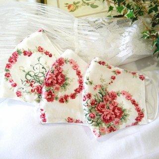 【花楽堂オリジナル】マスク 布マスク 呉服屋の上質晒マスク 赤いバラ 手作り 日本製