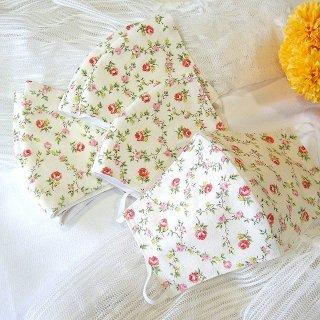 【花楽堂オリジナル】マスク 布マスク 呉服屋の上質晒マスク 赤い小花とガーランド 手作り 日本製