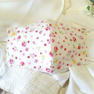 【花楽堂オリジナル】マスク 布マスク 呉服屋の上質晒マスク ふんわり小花赤ピンク 手作り 日本製
