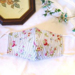 【花楽堂オリジナル】マスク 布マスク 呉服屋の上質晒マスク ストライプフラワー小花 グレー 手作り 日本製