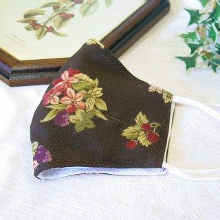 【花楽堂オリジナル】マスク 布マスク 呉服屋の上質晒マスク 茶色 花てまり 手作り 日本製