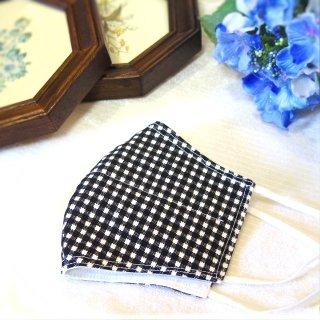 【花楽堂オリジナル】マスク 布マスク 呉服屋の上質晒マスク ギンガムチェック黒 手作り 日本製
