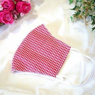 【花楽堂オリジナル】マスク 布マスク ギンガムチェック赤 呉服屋の上質晒マスク 手作り 日本製