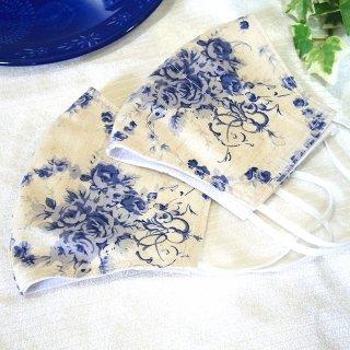 【花楽堂オリジナル】マスク 布マスク 藍色ローズ 呉服屋の上質晒マスク 手作り 日本製