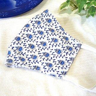 【花楽堂オリジナル】マスク 布マスク 藍小花 呉服屋の上質晒マスク 手作り 日本製