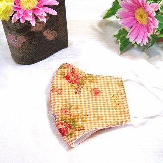 【花楽堂オリジナル】マスク 布マスク オレンジ花柄 呉服屋の上質晒マスク 手作り 日本製