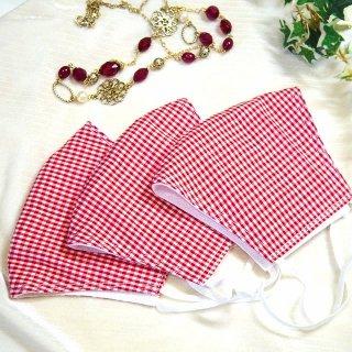 【花楽堂オリジナル】マスク 布マスク ギンガムチェック 赤 呉服屋の上質晒マスク 手作り 日本製