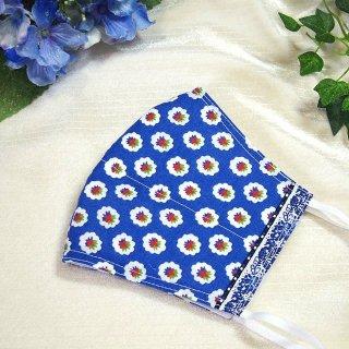 【花楽堂オリジナル】マスク 布マスク 青色小紋柄 呉服屋の上質晒マスク 手作り 日本製