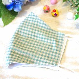 【花楽堂オリジナル】マスク 布マスク ギンガムチェック 緑 呉服屋の上質晒マスク 手作り 日本製