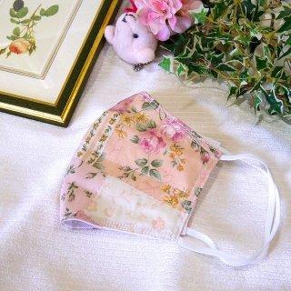 【花楽堂オリジナル】マスク 布マスク ピンク系 パッチワーク 呉服屋の上質晒マスク 手作り 日本製