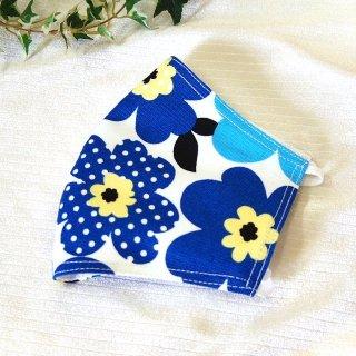 【花楽堂オリジナル】マスク 布マスク 花柄プリティブルー 呉服屋の上質晒マスク 手作り 日本製