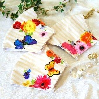 【花楽堂オリジナル】マスク 布マスク アートデザイン 花と蝶 呉服屋の上質晒マスク 手作り 日本製